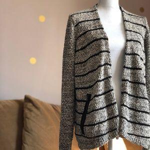 Lou & Grey Open Knit Cardigan Jacket w Zip Pockets